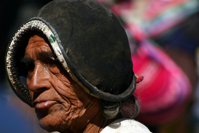 Tarabuco, man op de traditionele markt