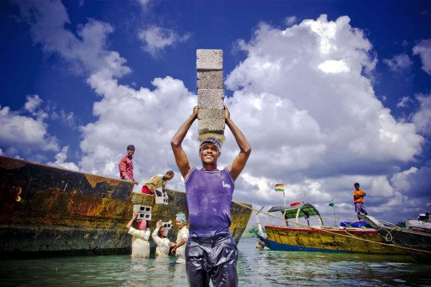Haven in Havelock, Andaman eilanden. Bevoorrading Havelock Eiland