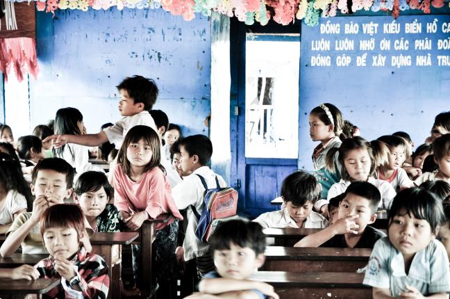 De klas van de Vietnamese school, Tonle Sap