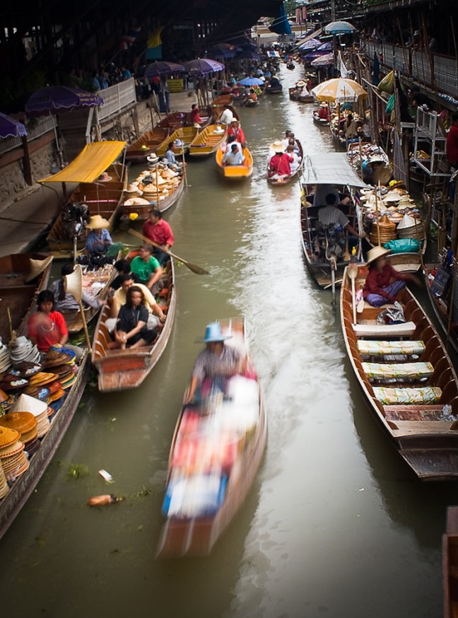 Floating Market in Vogelvlucht