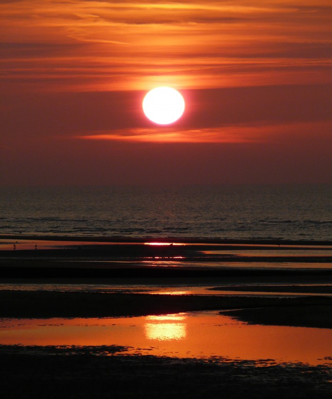 Belgie, zonsondergang