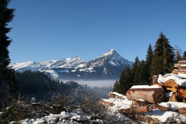 Winters plaatje in Zwitserland