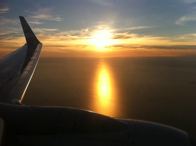 zonsondergang vanuit 737