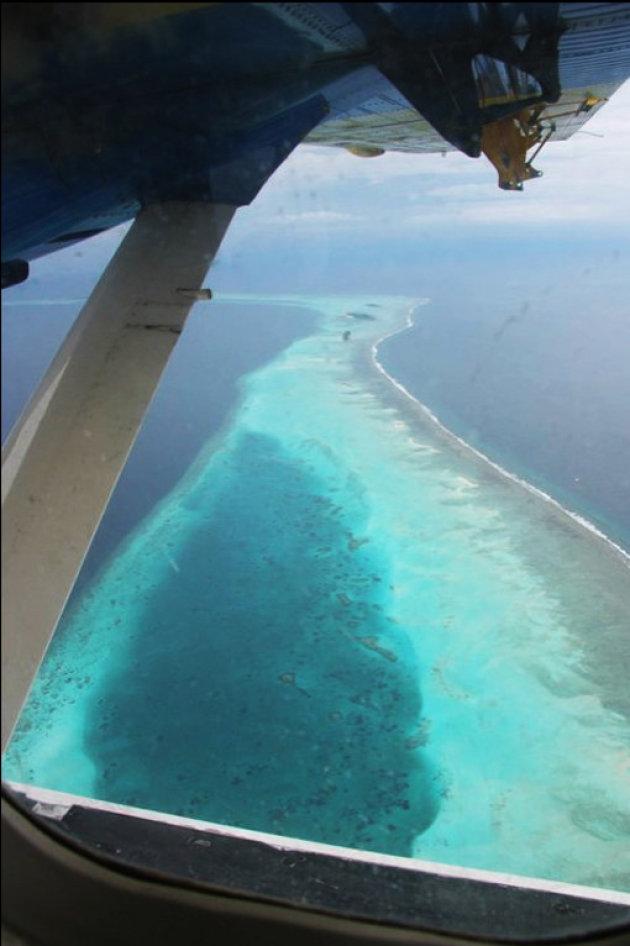 Vlucht boven de Malediven