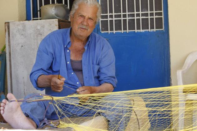 Netten weven op Lefkas
