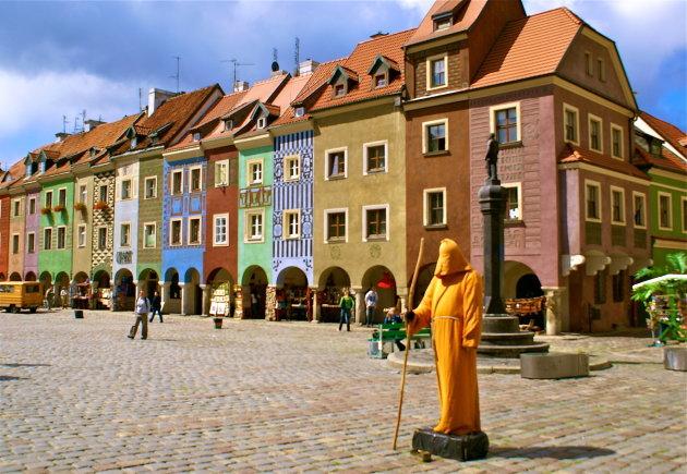Op de Oude Markt in Poznan, Polen.