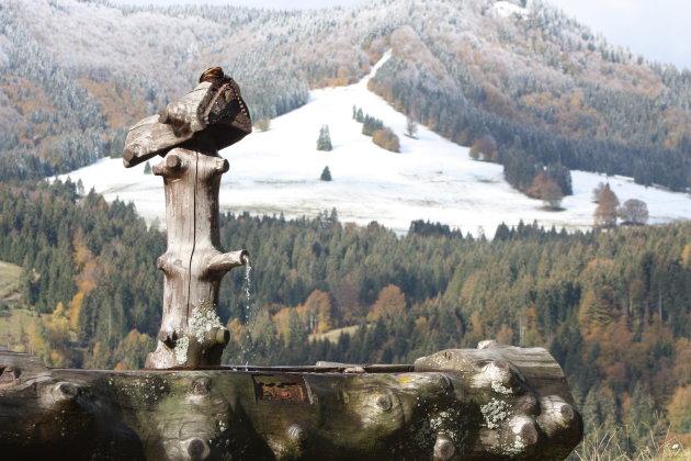 voor ons de eerste sneeuw op de Feldberg
