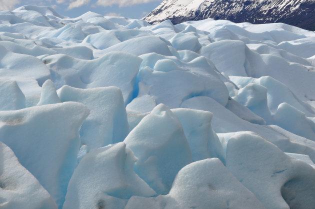 Bovenop de Perito Morene gletsjer.