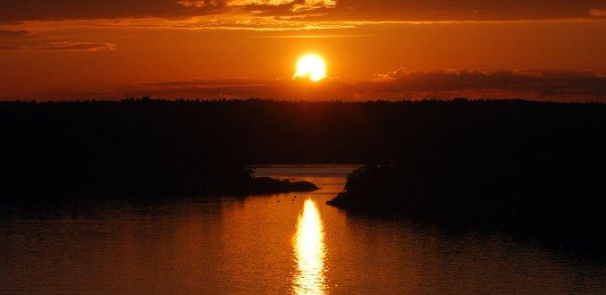 Zonsondergang vanaf de veerboot