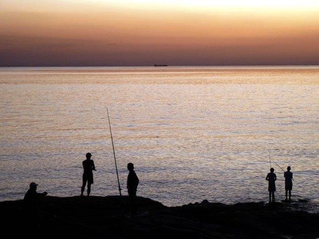 vissen tijdens zonsondergang