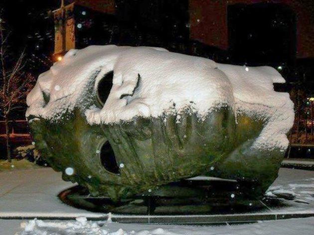Eros Bendato in de sneeuw.