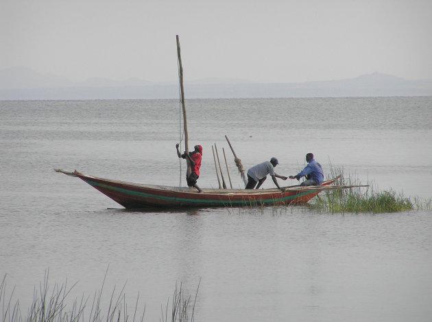 vroege vissers op Lake Victoria