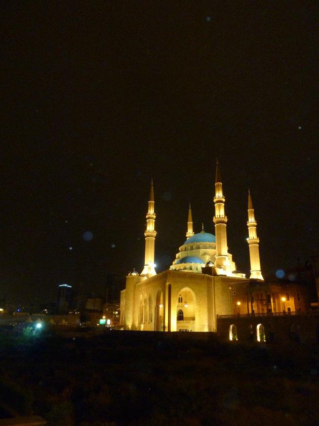 Moskee Beiroet in de avond