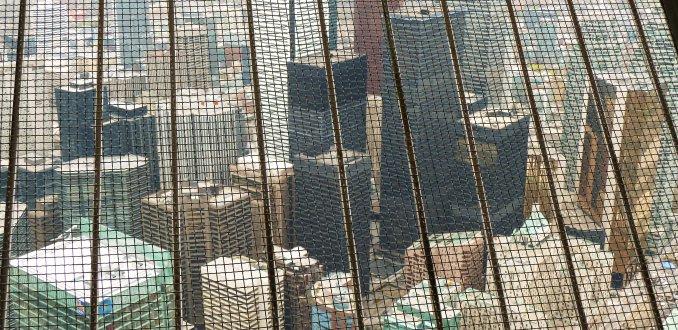 Uitzicht in ruitjes CN Tower