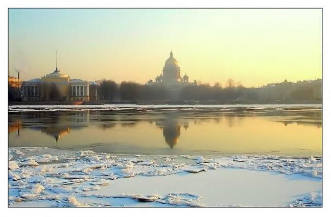 winterlicht over de Neva
