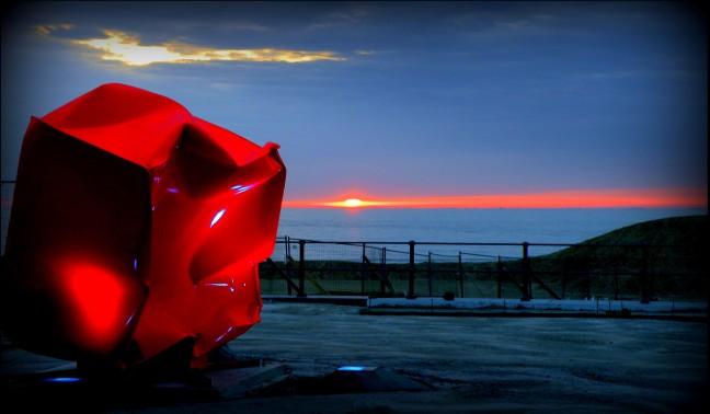 Vreemde zonsondergang !