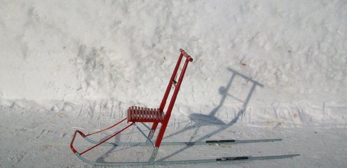 slee-rollator in Abisko, Lapland, Zweden.