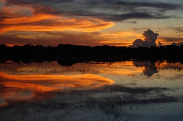 Zonsondergang over de Pantanal