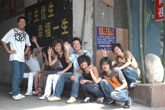 Hippe jongeren in Yichang.