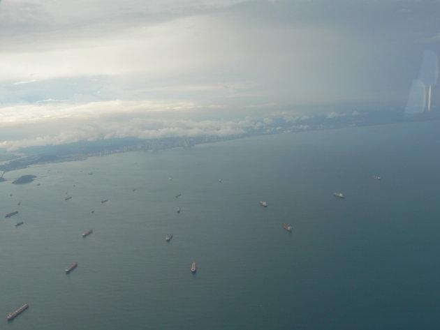 Schepen in het begin van het  Panama kanaal