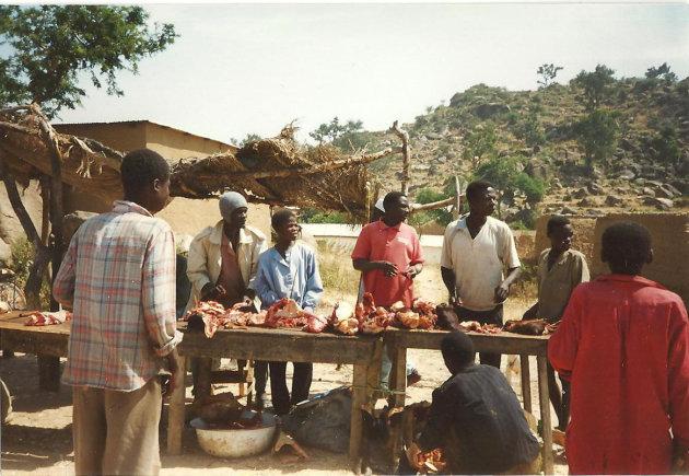Slager op de markt
