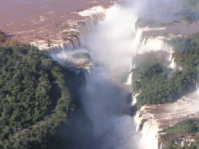 met de heli boven de watervallen