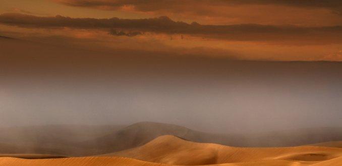 Mistbank in het Great Sand Dunes National Park