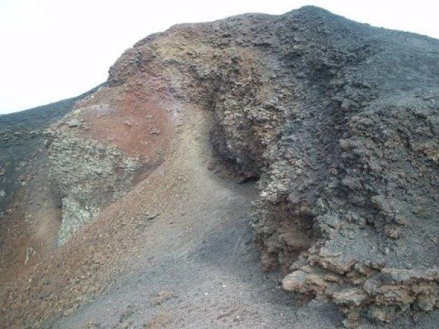 Kraterwand.