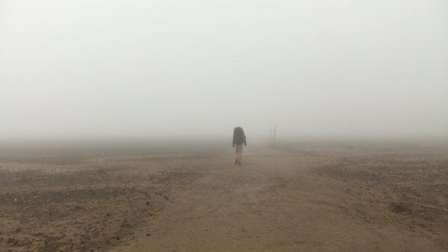 Maanlandschap in de mist (Tongariro National park)