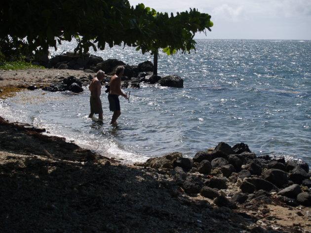 snorkelende mannen in het zee reservaat even buiten Apia