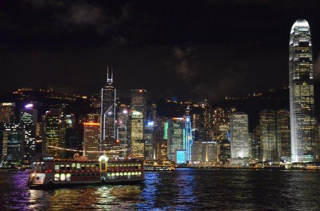 Hongkong bij nacht.