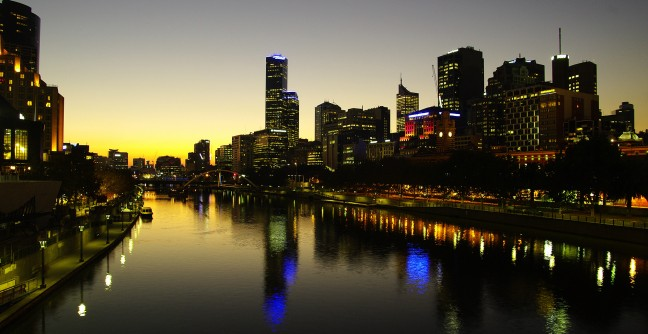 Zonsondergang in Melbourne