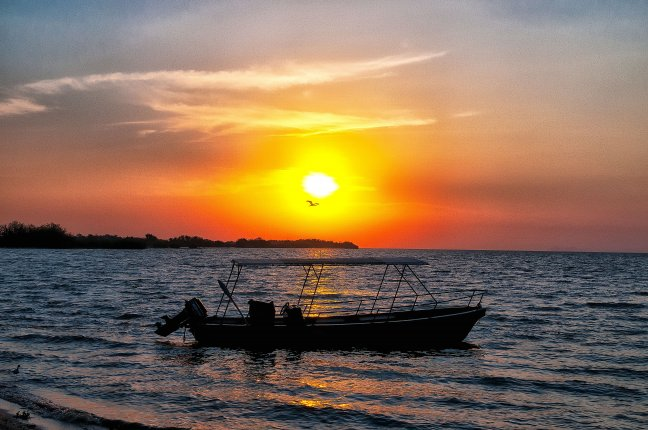 Zonsondergang op Lake Victoria