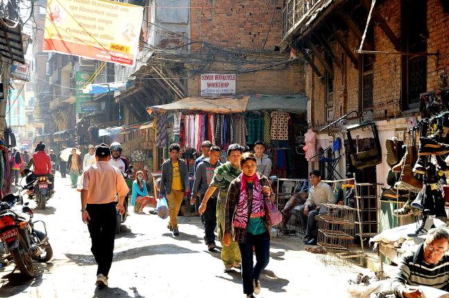Slenteren door Kathmandu