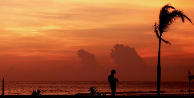 Silhouet in oranje