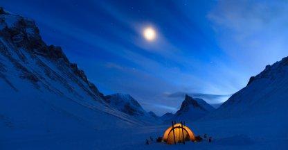 Winterkamperen bij de Nallo.