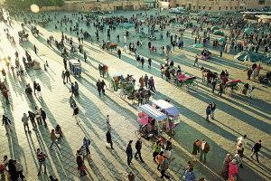 het Djemaa el Fna plein in Marrakech