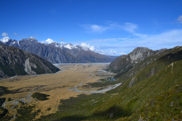 Uitzicht over de Mount Cook vallei
