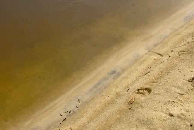 Voetstap op een geheel leeg strand