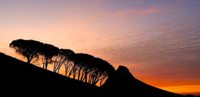 Zonsondergang Kaapstad.
