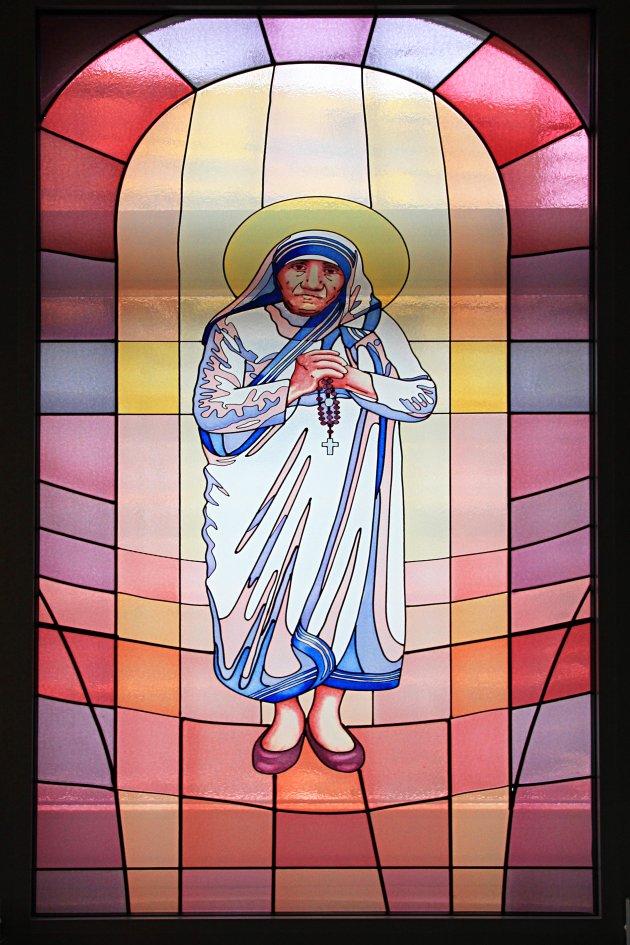 glas in lood Moeder Theresa