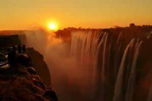 Victoria Watervallen bij Zonsondergang
