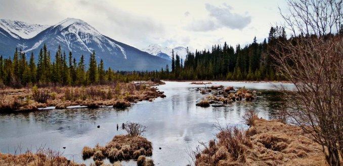 Bevroren Vermillion Lake bij Banff