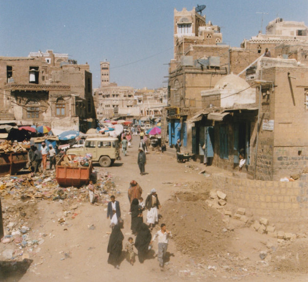 Straatbeeld van Sana'a