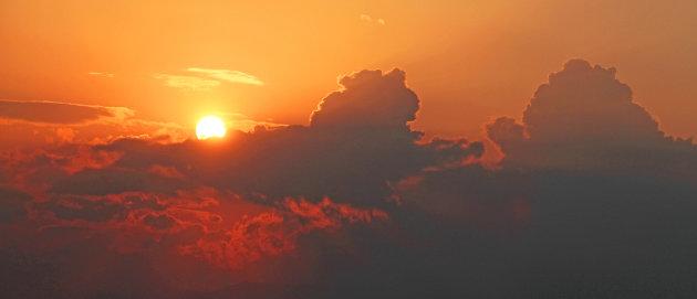 zonsondergang onderweg