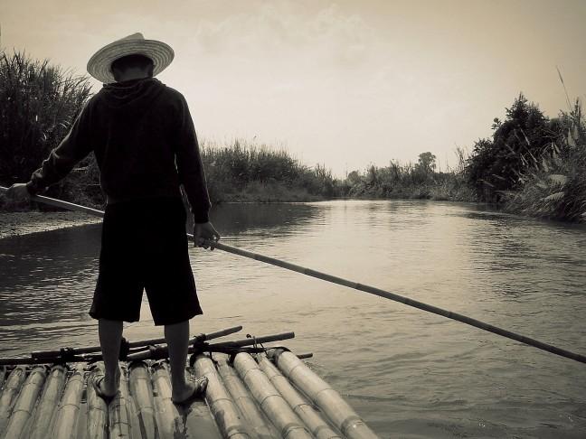 Bamboevlot-Varen in Noord-Thailand