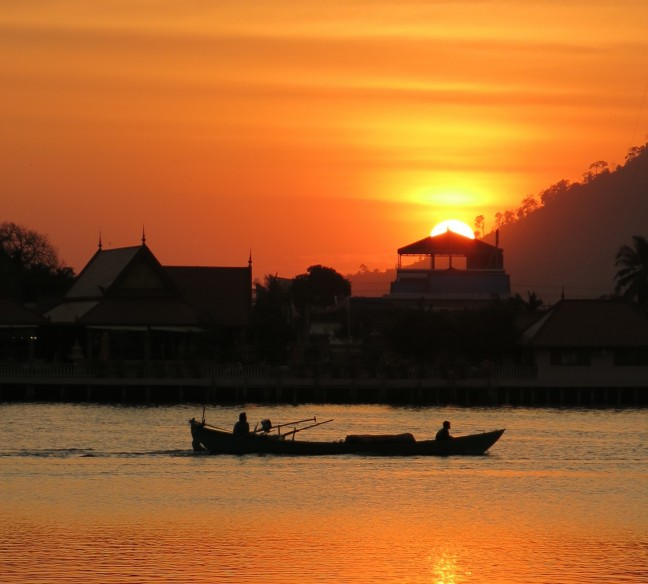 Zonsondergang in Kampot