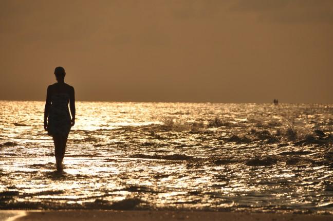 Romantisch voetenbad op een atol