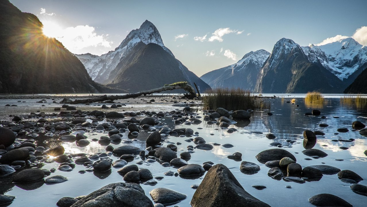 Milford sound on a sunny day