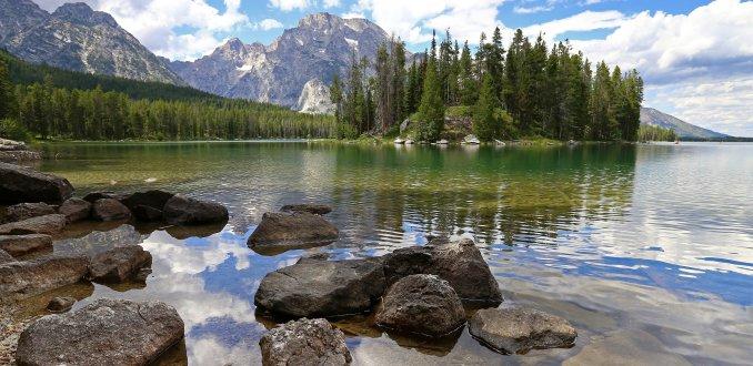 Leigh Lake in het Grand Teton N.P.
